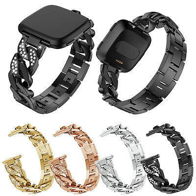 $ CDN18.44 • Buy Glitter Watch Band For Fitbit Versa Metal Link Bracelet Strap W Crystals Bangle
