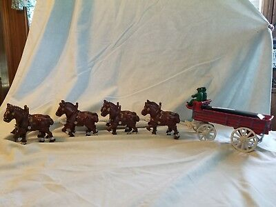 $ CDN159.01 • Buy Vintage Cast Iron Budweiser Beer Wagon 8 Clydesdale Horses With 2 Drivers