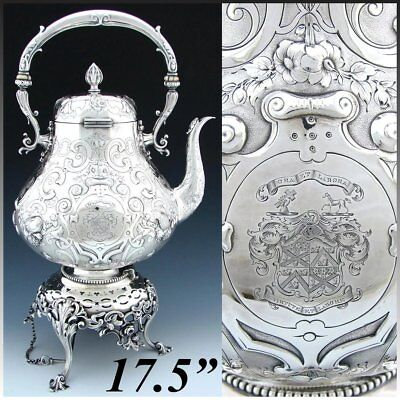 Antique Victorian Silver-plate 17.5   120oz  Tipper  Kettle, Armorial Heraldry • 727.50£