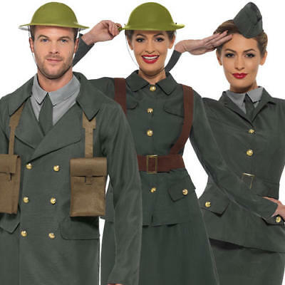 WW2 Fancy Dress Military Army Uniform Womens Mens 1940s World War Adult Costumes • 22.99£