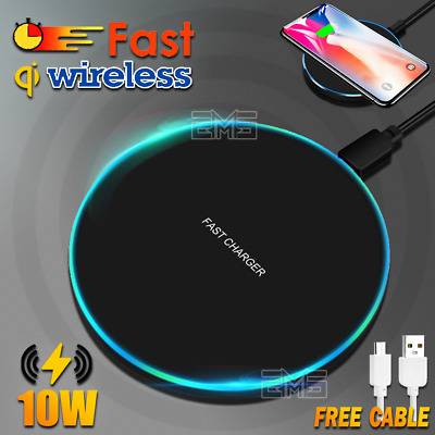 AU9.99 • Buy 10W Qi Wireless Charging Charger For IPad IPhone 11 XS Max XR Samsung S8 S9 S10+