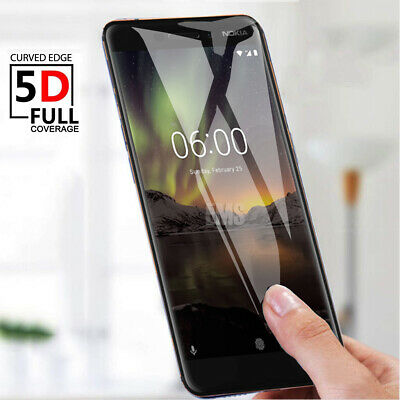 AU4.95 • Buy 5D Full Coverage Tempered Glass Screen Protector For Nokia 2.1 3 5 6 X6 6.1 8