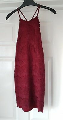 Hearts And Bows Deep Red Lace Dress Size 8 • 15£