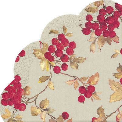 RED BERRIES Linen Christmas Rondo Round Fluted Paper Napkins 12 Pk 3ply 33cm Sq • 4.49£