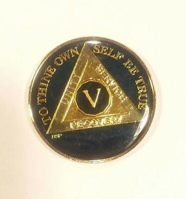 $12.89 • Buy 5 Year AA Sobriety Coin Medallion- Rich Midnight Blue Enamel Fifth Year V Five