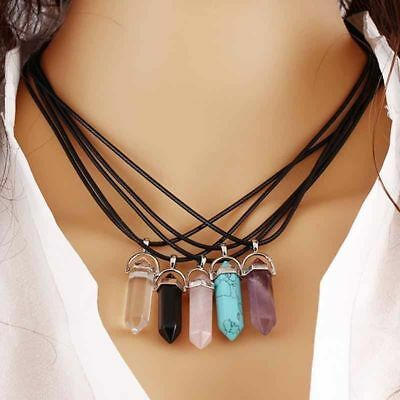 AU6 • Buy Hexagonal Crystal Yoga Point Chakra Healing Bullet Silver Pendant+Necklace+Pouch