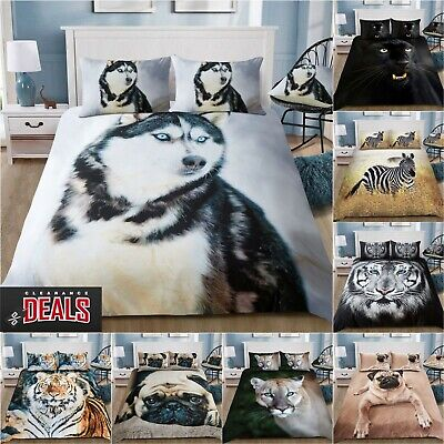3D Animal Printed Duvet Cover Pillow Cases Quilt Bedding Set Single Double King • 17.95£