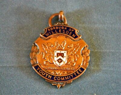 1948 Borough Of Willesden Youth Committee Cricket League Runners Up Enamel Badge • 4.99£