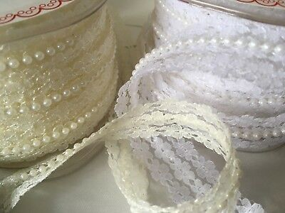 Pearl And Lace Beaded Trim Ribbon Vintage Style Wedding Ivory Or White  • 2.64£