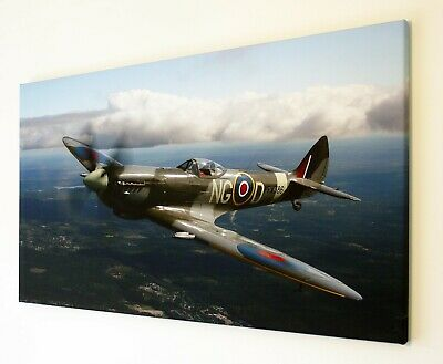 £20.99 • Buy WW2 SPITFIRE CANVAS PRINT WALL ART PICTURE   18 X 32 INCH