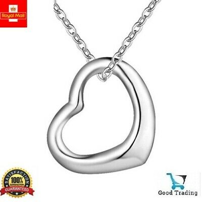 £3.50 • Buy 925 Sterling Silver Floating Heart Pendant Necklace On 18  Curb Chain Love Gift