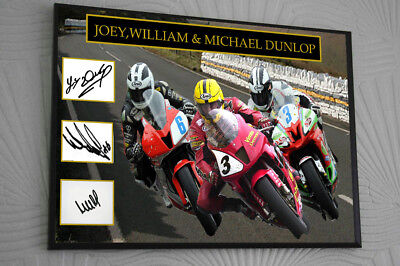 Joey William Michael Dunlop Framed Canvas Signed  Great Gift  • 16.99£