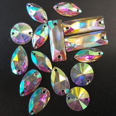 Crystal Glass Sew On Rhinestones Stones Flatback Beads For Clothes Wedding Dress • 7.08£