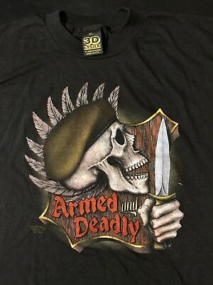 $ CDN326.65 • Buy Vintage 80s 1988 3D Emblem Tag Armed Deadly XL T-Shirt Military Army Knife