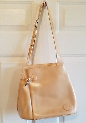 Longchamp Roseau Beige Patent Leather Sling Shoulder Bag W  Toggle Closure  • 50.00  664311db26a71