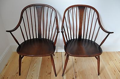 Set Of 2 Vintage Retro 60's Ercol Ercol Windsor Bow Armchairs (model 514) • 660£