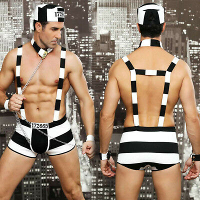 Sexy Mens Prisoner Outfit, Clubwear Prison Outfit, Fancy Dress Size M • 15.99£