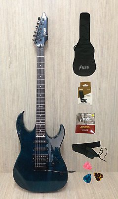 AU183.20 • Buy Haze HSLG4-TBL 6 String Translucent Teal Green  Electric Guitar With Accessories