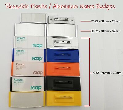 Name Badge Visitor ID Badge For Replaceable Paper Inserts Reuse Flexible Badge • 1.49£