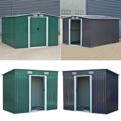 Metal Garden Storage Shed Pent Tool Sheds House Galvanized Steel W/ Free Base UK • 487.14£
