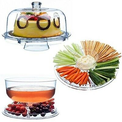 £13.99 • Buy 3-in-1 Acrylic Cake Stand Cupcake Holder Salad Serving Platter With Dome