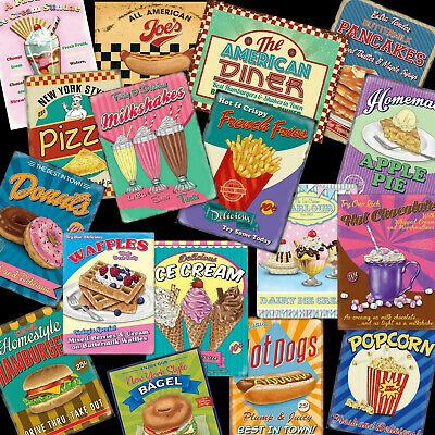 Kitchen Pictures Vintage Retro Metal Wall Signs Plaques 50s AMERICAN DINER UK • 6.95£