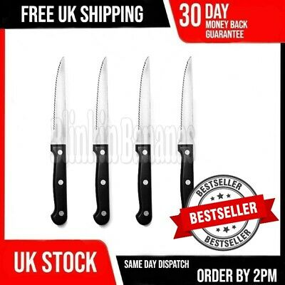 £3.79 • Buy Set Of 4 Black Stainless Steel Serrated Sharp Steak Cutting Knife Knives Cutlery