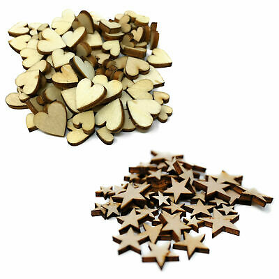 MINI Wooden Stars Hearts Embellishments Small Shapes Craft Decoration Scrapbook • 1.79£