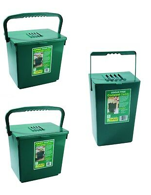 Green Compost Caddy Food Waste Bin With Carbon Filter Lid Carry Handle  • 15.70£