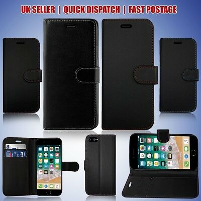 For Apple Iphone 5 & 5s Wallet Book Case Plain Black With New Coloured Stitching • 3.96£