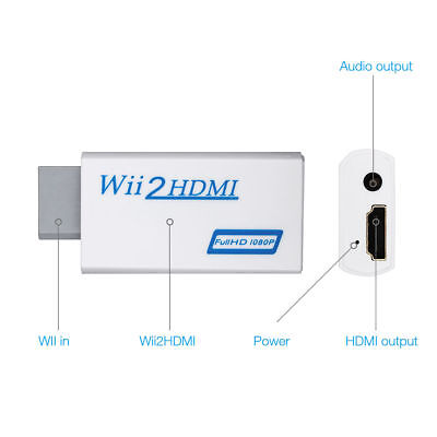 Wii Input To HDMI 1080P HD Audio Output Converter Adapter Cable 3.5mm Jack Audio • 4.99£