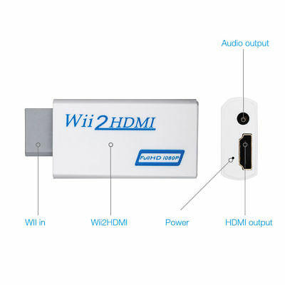 Wii Input To HDMI 1080P HD Audio Output Converter Adapter Cable 3.5mm Jack Audio • 5.99£