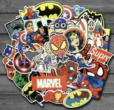 £3.99 • Buy 50 Marvel/DC Superhero Stickers Decorate Laptop Phone Books Tablets Party Mix 1
