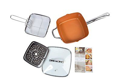 £28.90 • Buy LARGE DEEP SIDED NON-STICK COPPER 24CM SQUARE PAN KIT GLASS LID OVEN SAFE 5pc