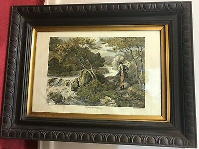 Samuel Howitt, Minnow Fishing Vintage Art Print With Frame 1799 • 21£