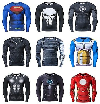 Mens Compression Superhero Top Base Layer Gym Long Sleeve Shirt Running Thermal  • 13.99£