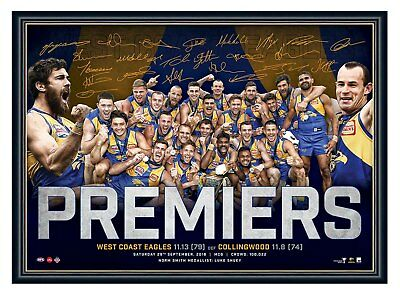 AU89.99 • Buy West Coast Eagles 2018 Afl Premiers Signed Print Framed Official L/e Memorabilia