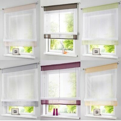 £7.38 • Buy Modern Tab Top Sheer Kitchen Balcony Window Curtain Voile Liftable Roman Blinds