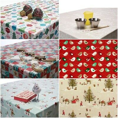 Christmas Oilcloth Wipe Clean Tablecloth / Xmas Festive Table Cover Designs  • 0.99£
