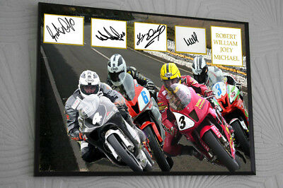 Joey Robert William Michael Dunlop Framed Canvas Signed  Great Gift  • 17.99£