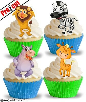 £2.99 • Buy Pre-cut Jungle Animals Edible Wafer Paper Cup Cake Toppers Safari Decorations