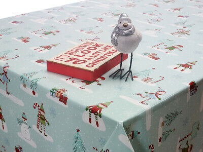 Christmas Oilcloth Wipe Clean Tablecloth Cover Round OR Square Xmas Vinyl PVC • 1.10£