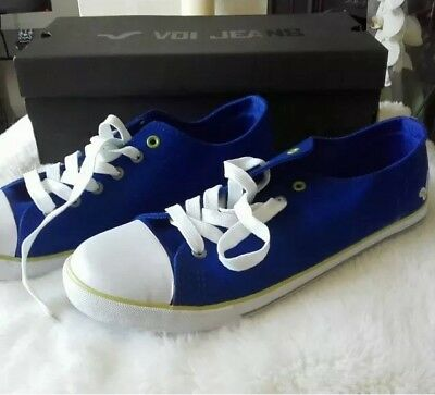 NEW Voi Jeans  Blue Canvas White Lace Up Pumps Plimsolls Casual UK 11 • 9£