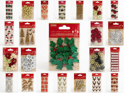 Handcrafted Chrsitmas Decorations Xmas Card Arts Craft Embellishments Handmade • 1.58£