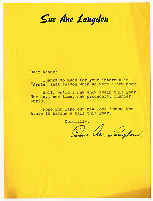 $19 • Buy Sue Ane Langdon Signed Autographed Letter! RARE! Guaranteed Authentic!