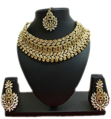 $21.69 • Buy Bollywood Ethnic Gold Tone Indian Fashion Bridal Jewelry Necklace Earring Set