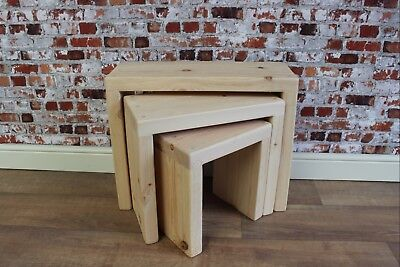 £99.99 • Buy Handmade Solid Pine Wood Wooden Nest Of 3 Tables Farmhouse Clear Wax Finish