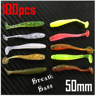 AU8.95 • Buy 100x Soft Plastic Fishing Lure Tackle 50mm Paddle Tail Grub Bream Lures Bass Cod