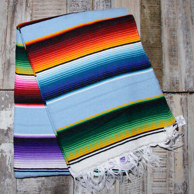Mexican Stripey Blanket - Sky Blue • 32£