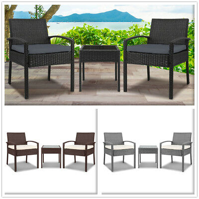 AU174 • Buy 3 Piece Outdoor Setting Furniture Sofa Cushion Seat Rattan Chair Glass Table Top